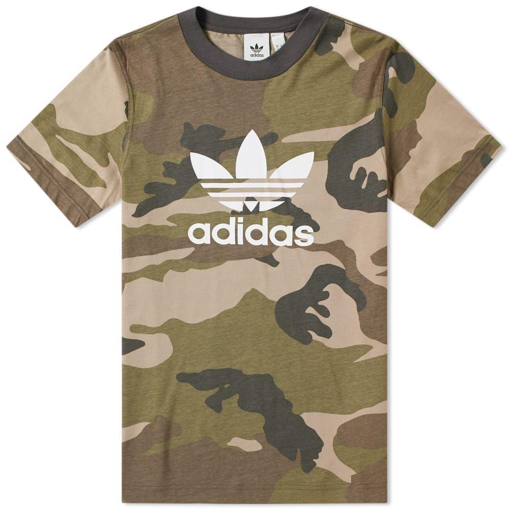 adidas Originals Herren Trefoil Camouflage T Shirt Weiß