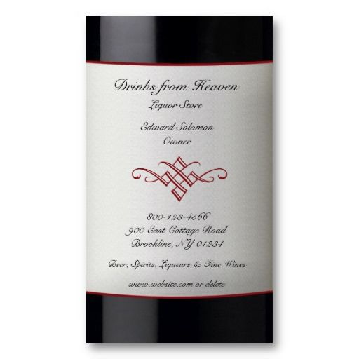 Liquor Wine Store Business Card Business Cards Pinterest
