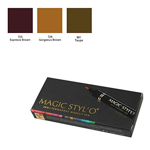 Bundle of 3 Items: Magic Stylo Semi Permanent Makeup Pen (Espresso Brown, Gorgeous Brown,
