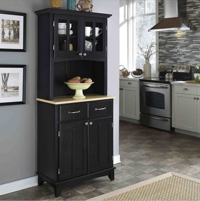 Black China Cabinet 2 Door Hutch Buffet Microwave Stand Cart Kitchen Storage Homestyles