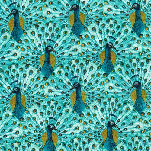 peacocks from alegria by geninne for cloud9 fabrics print
