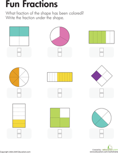 fun fractions  measurement and data  math math worksheets fractions fun fractions each shape on this worksheet is divided into equal parts and  some of the parts are shaded kids completing the worksheet identify and  write