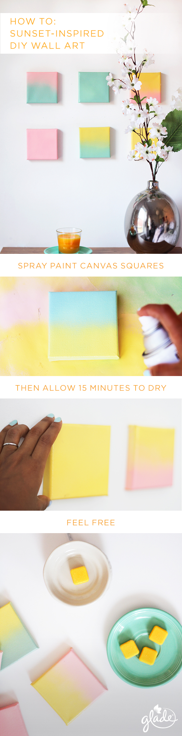 Take the wow factor of a summer sunset and bring it straight to your living room with this DIY wall art décor. All you need is 15 minutes, four canvas squares, pastel spray paint and the scent of a Glade Soak It In Summer Swim candle and wax melts from our new Escape to the Lake summer collection to get you in the mood to seize summer's days.