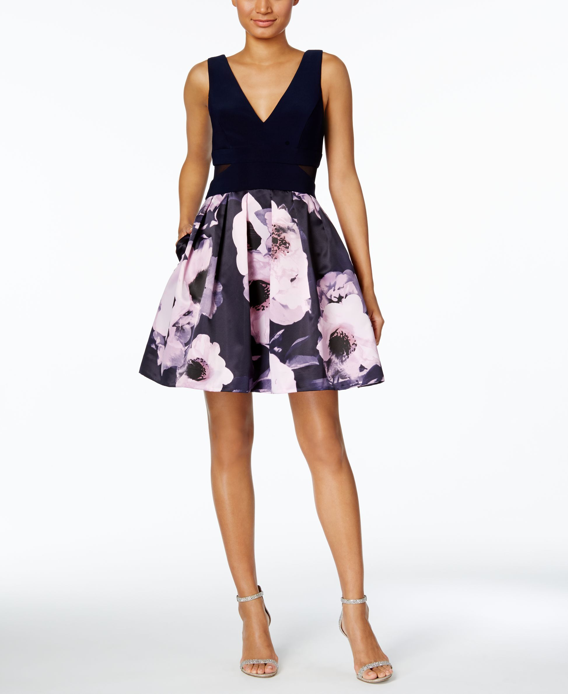 Fit and flare dress wedding  Xscape FloralPrint Fit u Flare Dress  Products  Pinterest  Products