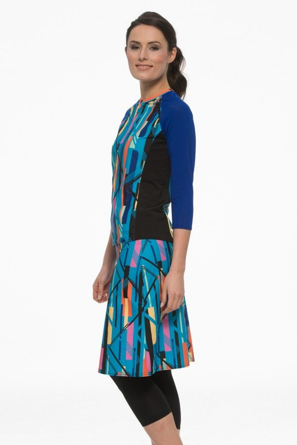 985eaa72ac Blue Abstract Swim Skirt with Leggings: Undercover Waterwear, Modest  Swimwear, Modest Swimsuits, We've got you covered.