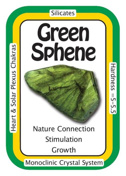 °Green Sphene ~ I am connected to all the flora & fauna of the universe. Beautiful deep green Sphene also known as Titanite & is more desirable that Yellow or White Sphene. It is the Titanium that produces the Green colour. Sphene can literally make your garden grow. Place a grid of Sphene crystals in your vegetable garden, herb garden or flower beds. Sphene stimulates growth in a big way. Sphene helps to calm the emotions & soothe the heart. It aligns the spiritual, emotional, etheric…