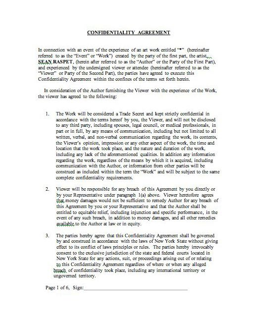 Sean Raspet   The First Page Of A Confidentiality Agreement