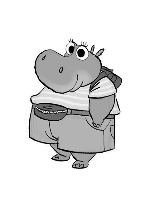 Zootopia Line Art : Hippo kid i designed that got a great line in zootopia