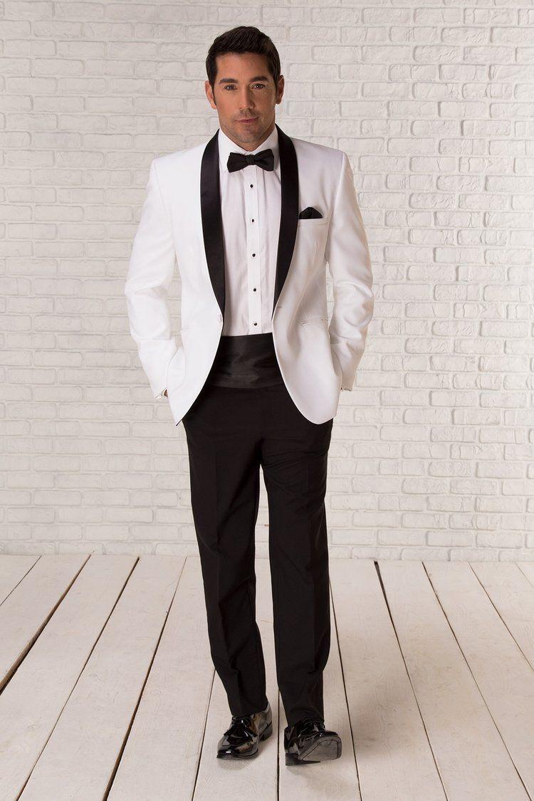 White Tuxedo with Black Collar/LapelSlim Fit Tuxedo