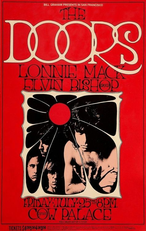 The Doors, Lonnie Mack and Elvin Bishop at San Francisco's Cow Palace - 1968 concert poster
