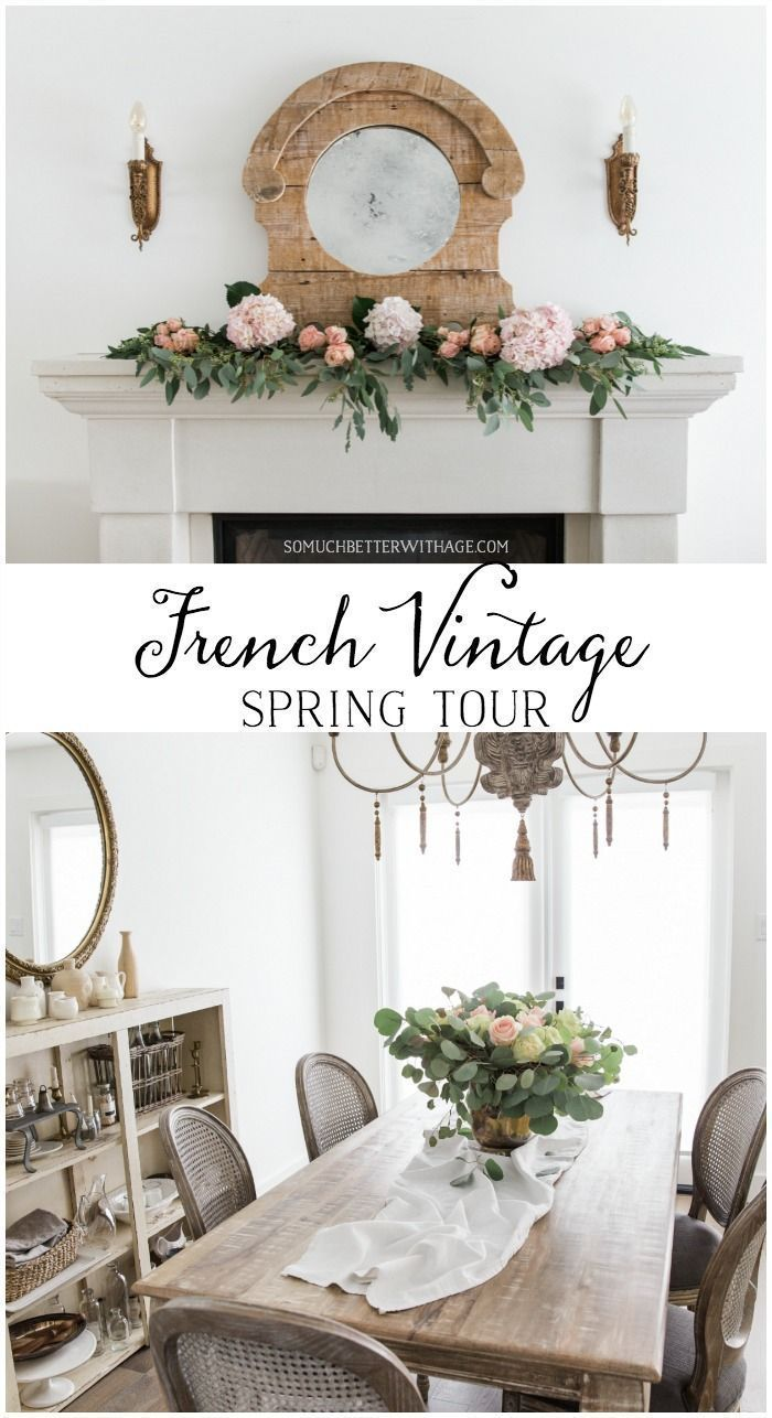 Fresh French home decor inspiration for your living room on my French vintage spring tour - So Much Better With Age #somuchbetterwithage #frenchdecor #frenchvintage