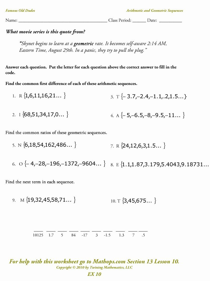 50 Arithmetic And Geometric Sequences Worksheet In 2020