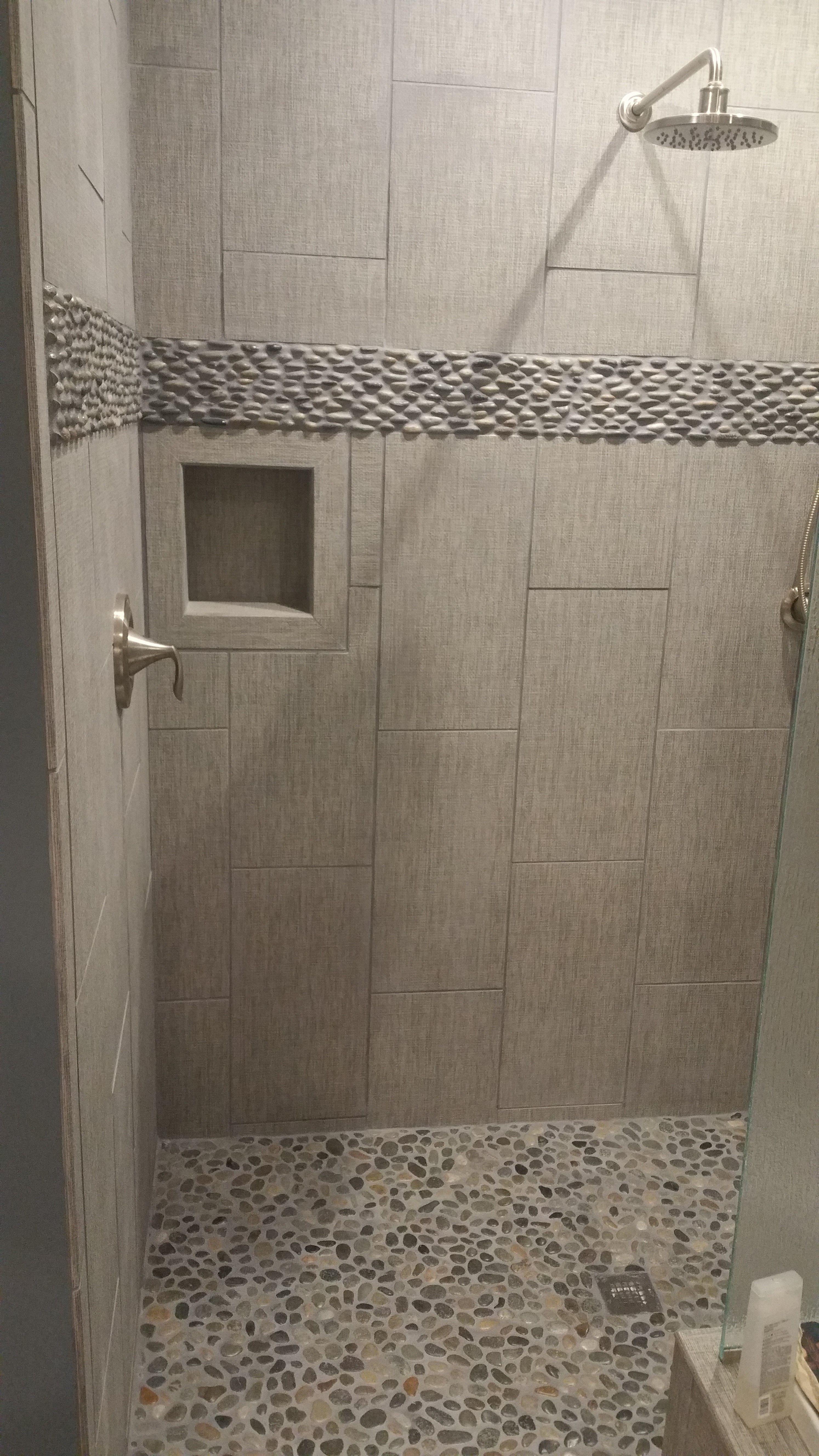 java tan standing pebble tile lake house bath pebble. Black Bedroom Furniture Sets. Home Design Ideas