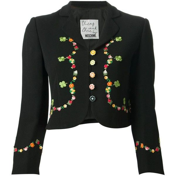 Moschino Vintage Cropped Floral Embroidered Jacket ($811) ❤ liked on Polyvore featuring outerwear, jackets, coats, black, vintage black jacket, vintage floral jacket, black floral jacket, floral jacket en floral embroidered jacket