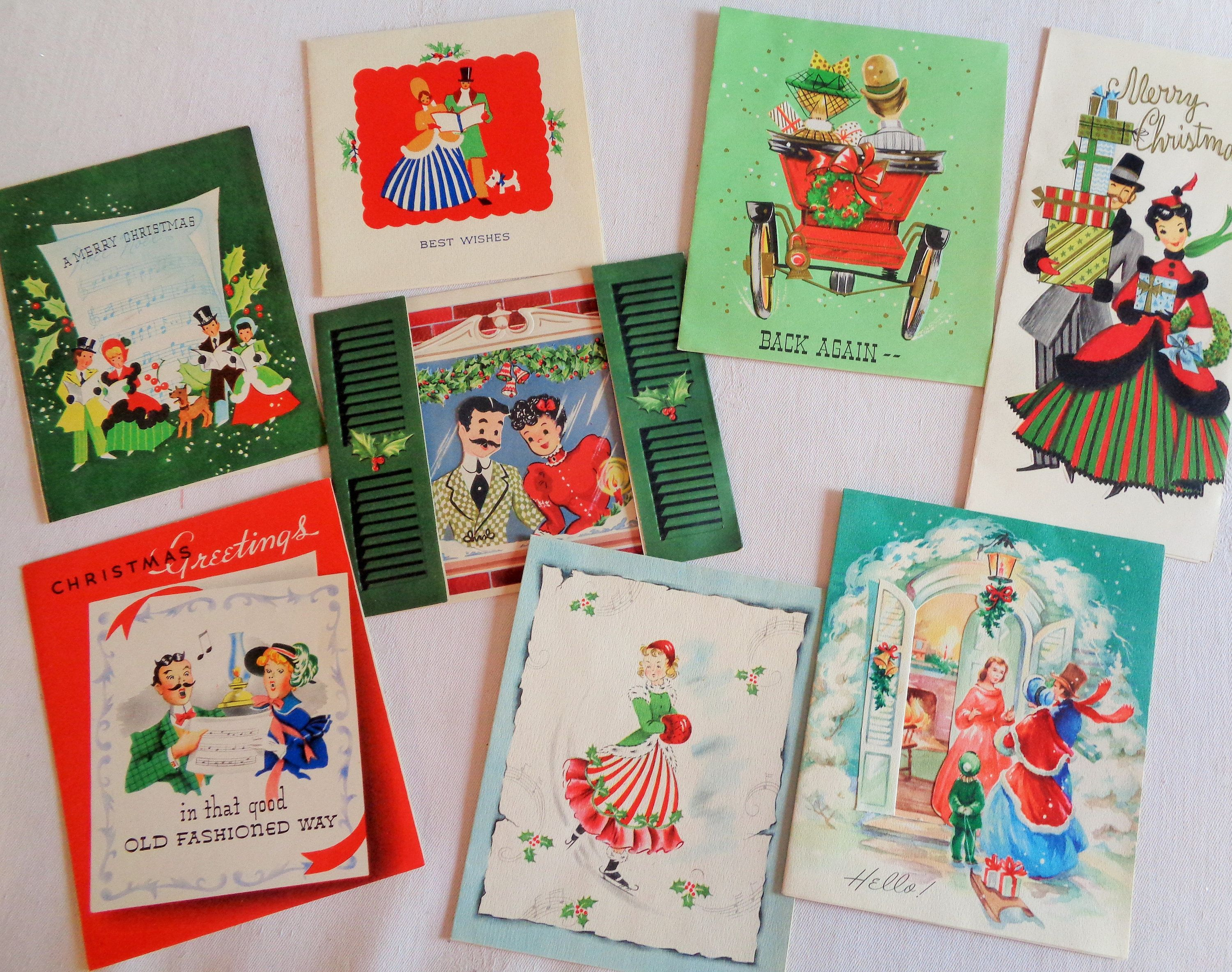 Old Fashioned Folk Wishing You a Merry Christmas in Vintage ...