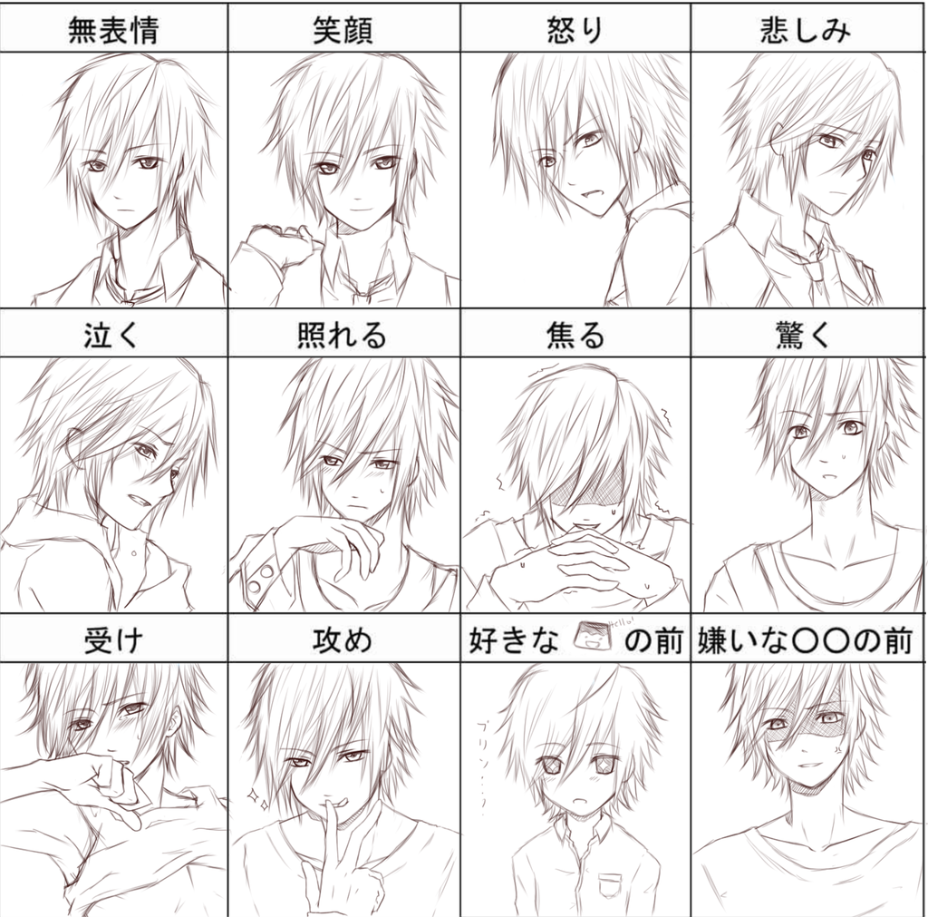 Expression Chart Reflecting Emotions Language Is Japanese If Anyone S Curious Anime Faces Expressions Anime Expressions Face Drawing