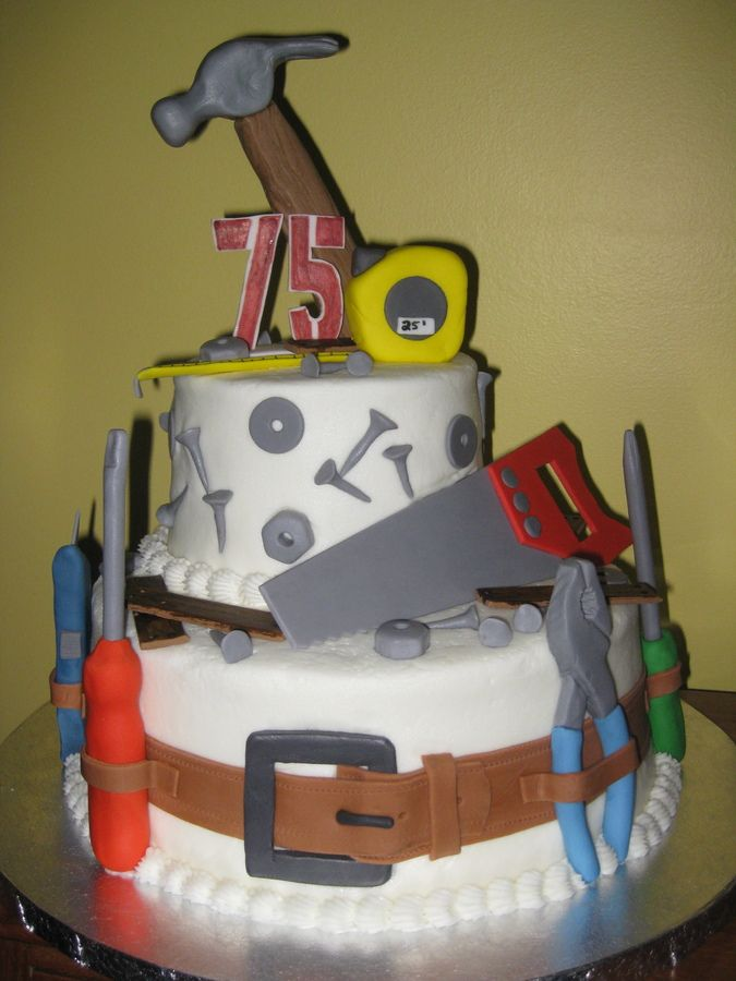 Cake Decorating Ideas For Grandpa : I made this tool-themed cake for my grandpa s 75th ...