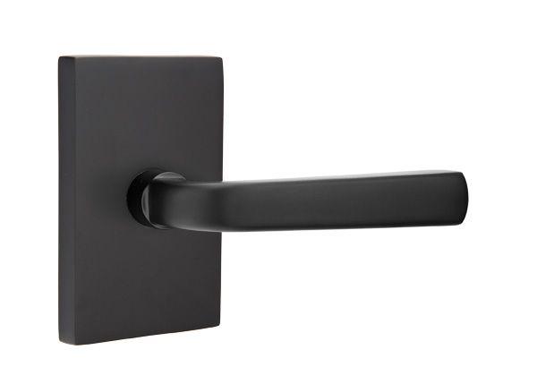 Interior Door Hardware Emtek Sion Lever With Rectangle Rosette Matte Black Finish