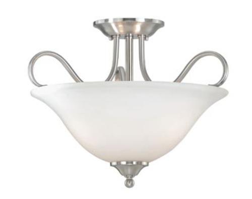 "Shop Portfolio 3 Light Vassar Brushed Nickel Bathroom: Samantha 3-light 17"" Satin Nickel Simi Flush Mount At"