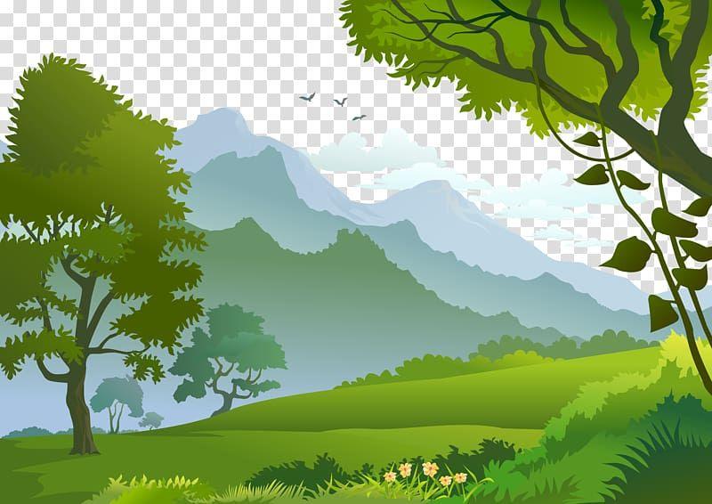 Forest Landscape Illustration Forest Trees And Mountains Illustration Transparent Backgroun Landscape Illustration Landscape Background Mountain Illustration