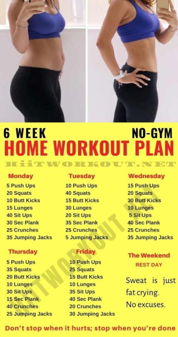 6 Week Workout Plan At Home