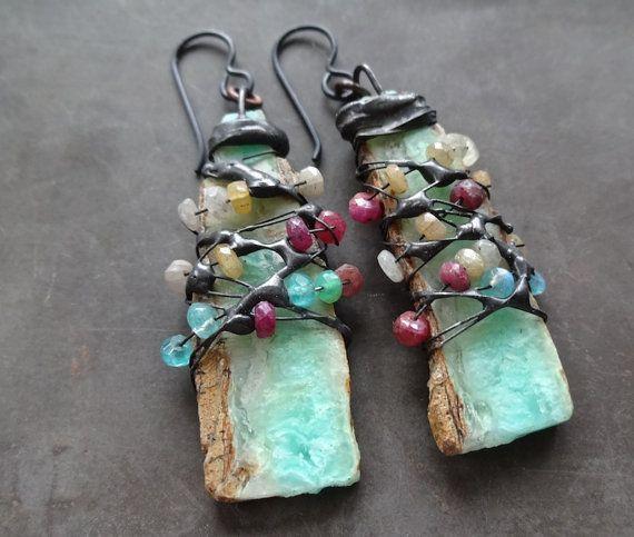 Chrysoprase Ruby Blue Moonstone Beaded Earrings Etsy Earrings Handmade Dangle Beaded Earrings Earrings Handmade