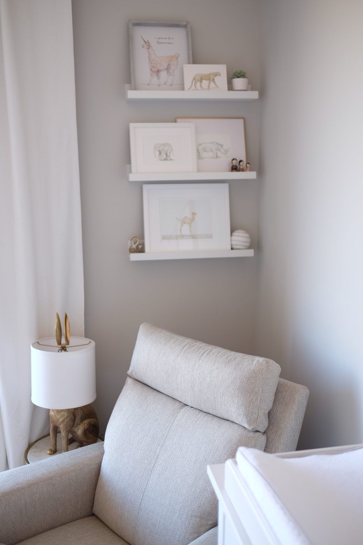 Light And Contemporary Neutral Nursery Project Nursery Nursery Shelves Nursery Baby Room Baby Room Neutral