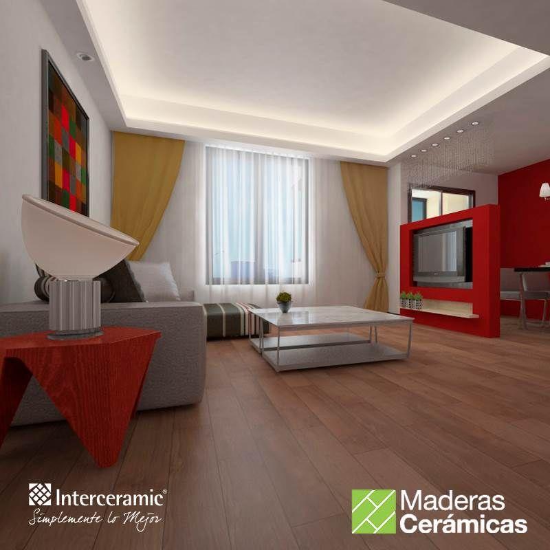 Las líneas rectas, los #recubrimientos claros de #madera y la luz natural son elementos que harán de tu #sala un espacio más grande. Línea Etic de #Interceramic, piso color Noce/Rect mate.