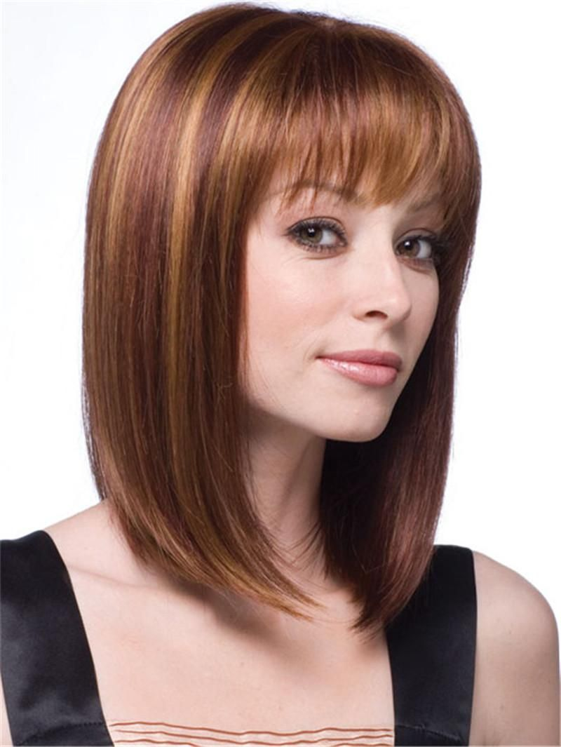 Natural Short Blonde Wig Medium Length Straight Hair Wigs Synthetic