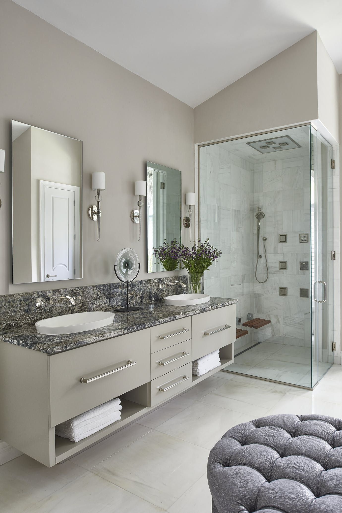 Master Bathroom Vanity And Shower Bath Transitional By Gilded Home