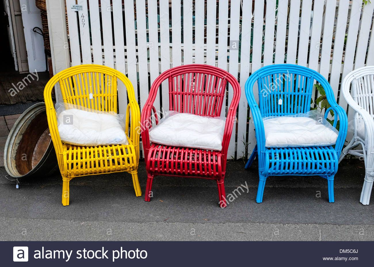Download this stock image brightly painted cane chairs outside an antique shop in south hobart tasmania dm5c6j from alamys library of millions of high