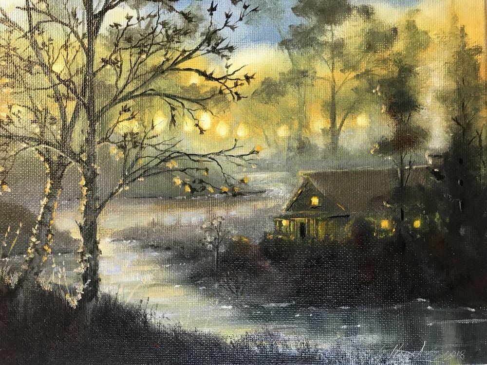 Original Oil Painting Sunset Tonal Landscape Tree River Cabin Art List By Artist Realism Oil Painting Landscape Cabin Art Landscape Paintings