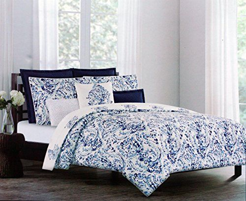 nicole miller luxurious designer bedding 3 piece cotton duvet cover set watercolor paisley pattern in shades