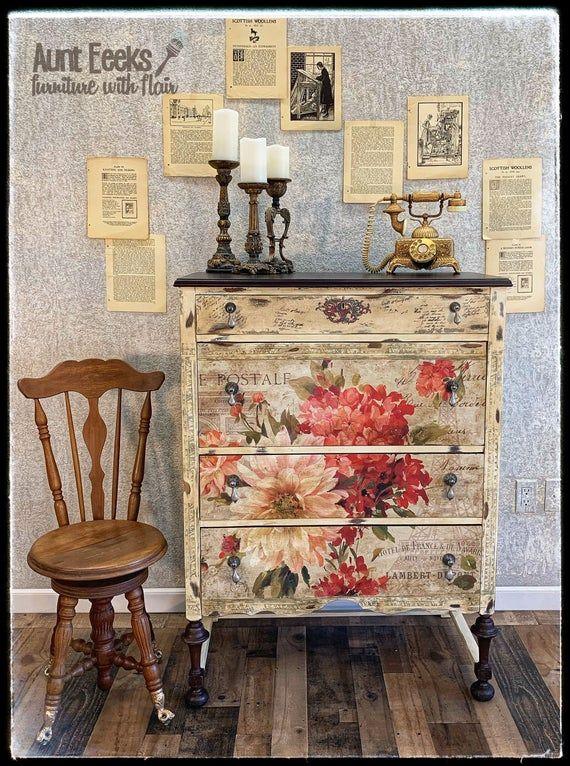 VENDIDO ~ pintado a mano antiguo tocador floral
