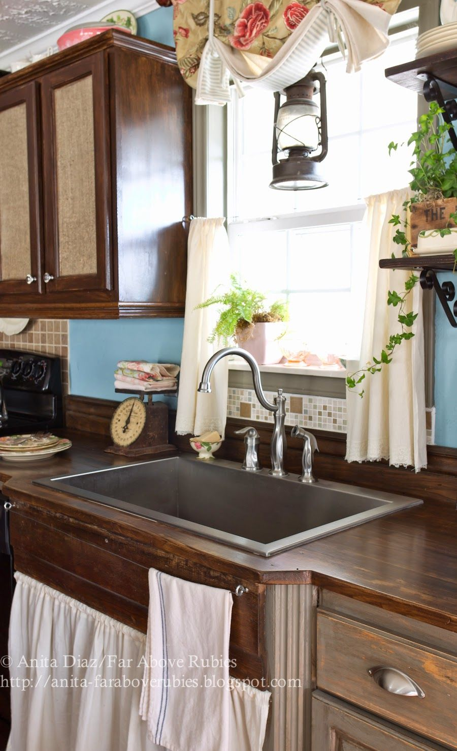Far Above Rubies Muslin And Lace Sink Skirt And Cafe Curtains Country Kitchen Kitchen Design House Skirting