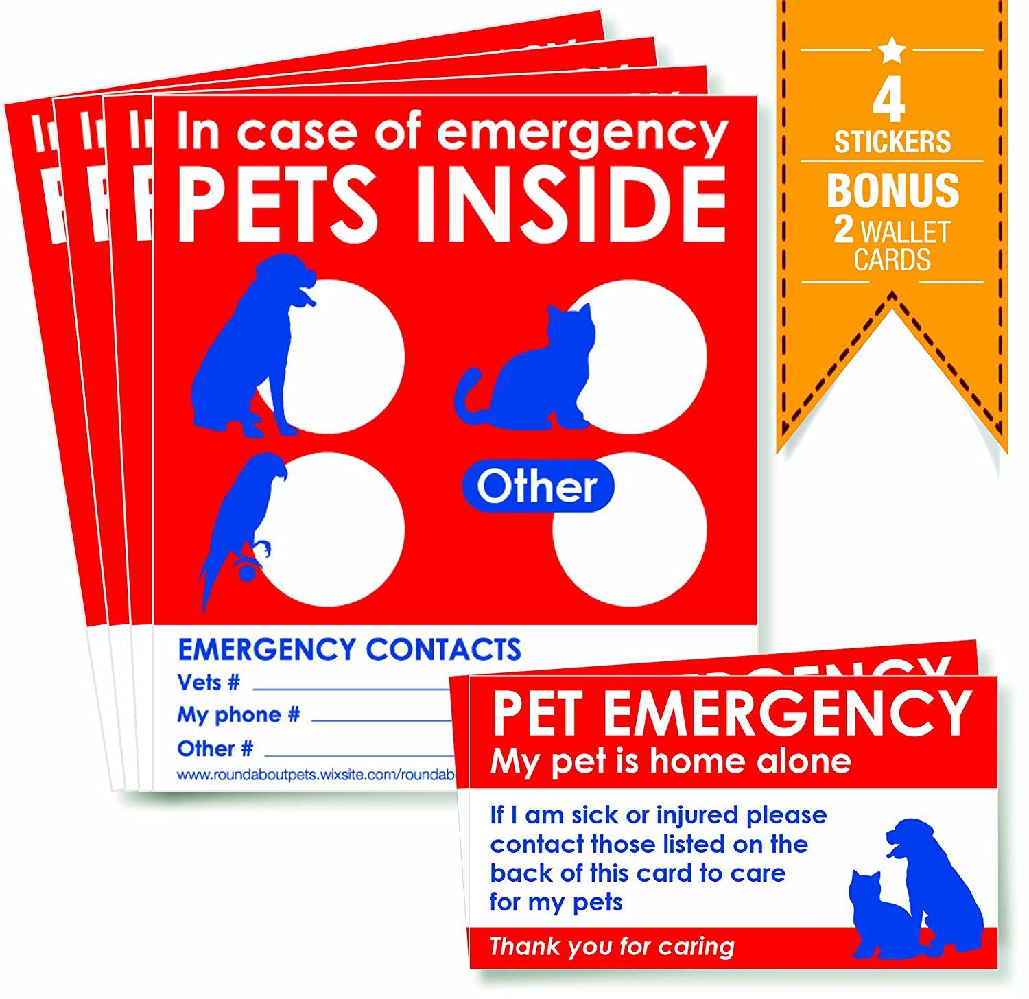 Pets Rescue Stickers X 4 With Bonus Pet Home Alone Wallet Cards X 2 Alert Emergency First Responders To Pets Inside Home Det Pet Home Pet Emergency Pets