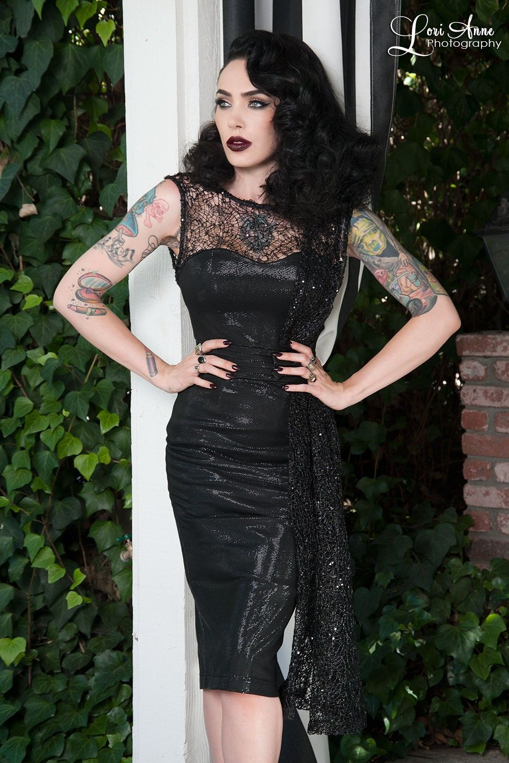Black Widow Cocktail Dress in Black   Pinup Girl Clothing   Pinup ...