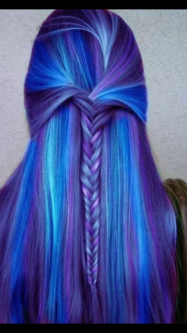 Blue hair with other blue highlights with a purple mix with a cute braid in the back