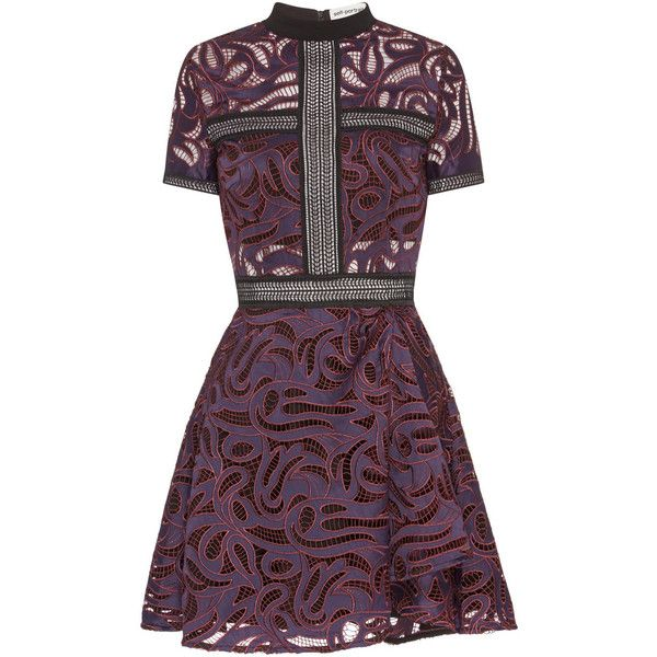 aa9c5b9b7a42f SELF-PORTRAIT Eliza Cutwork Mini Dress ❤ liked on Polyvore featuring dresses,  see-through dresses, cut out dresses, fit and flare party dress, short red  ...