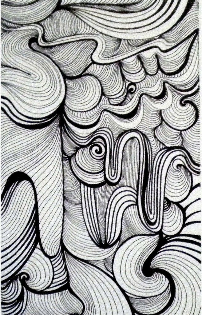 Line Drawing Zentangle : Week pin thick and thin lines with dark light