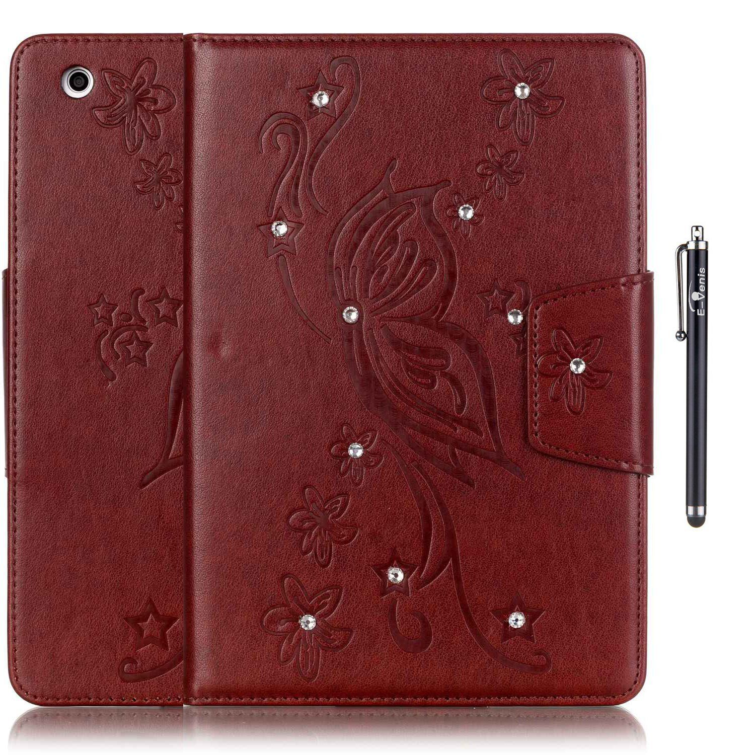iPad Mini 1/2/3 Case,E-Venis[Auto Sleep/Wake Feater]Bling Crystal Rhinestone Premium PU Leather Magnetic Design Case Flip Folio Kickstand Cover Case for iPad Mini 1/2/3 with Stylus Pen(Brown) ** You can get more details here : Utensil Organizers