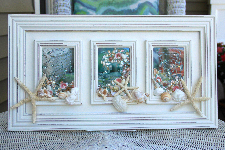 Beach Glass Art For Coastal Decor, Beach Bathroom Decor Made Of Seashells  On Glass Art, Seashell Art For Beach House, Coastal Wall Art By  SeaSideCreations1 ...