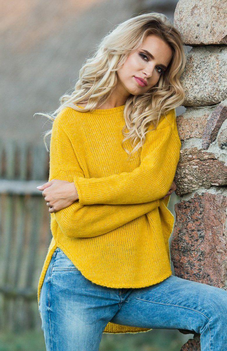 5ffd52a2 Fobya F585 sweter musztardowy - Swetry damskie - MODA DAMSKA - Sklep ...