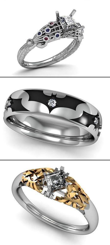 These custom SpiderMan Batman and Zelda wedding rings just might