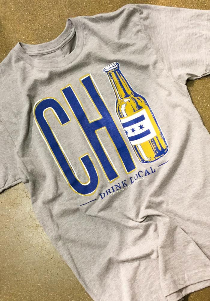 Chitown Clothing Chicago Grey Local Brew Short Sleeve T Shirt - 4440007