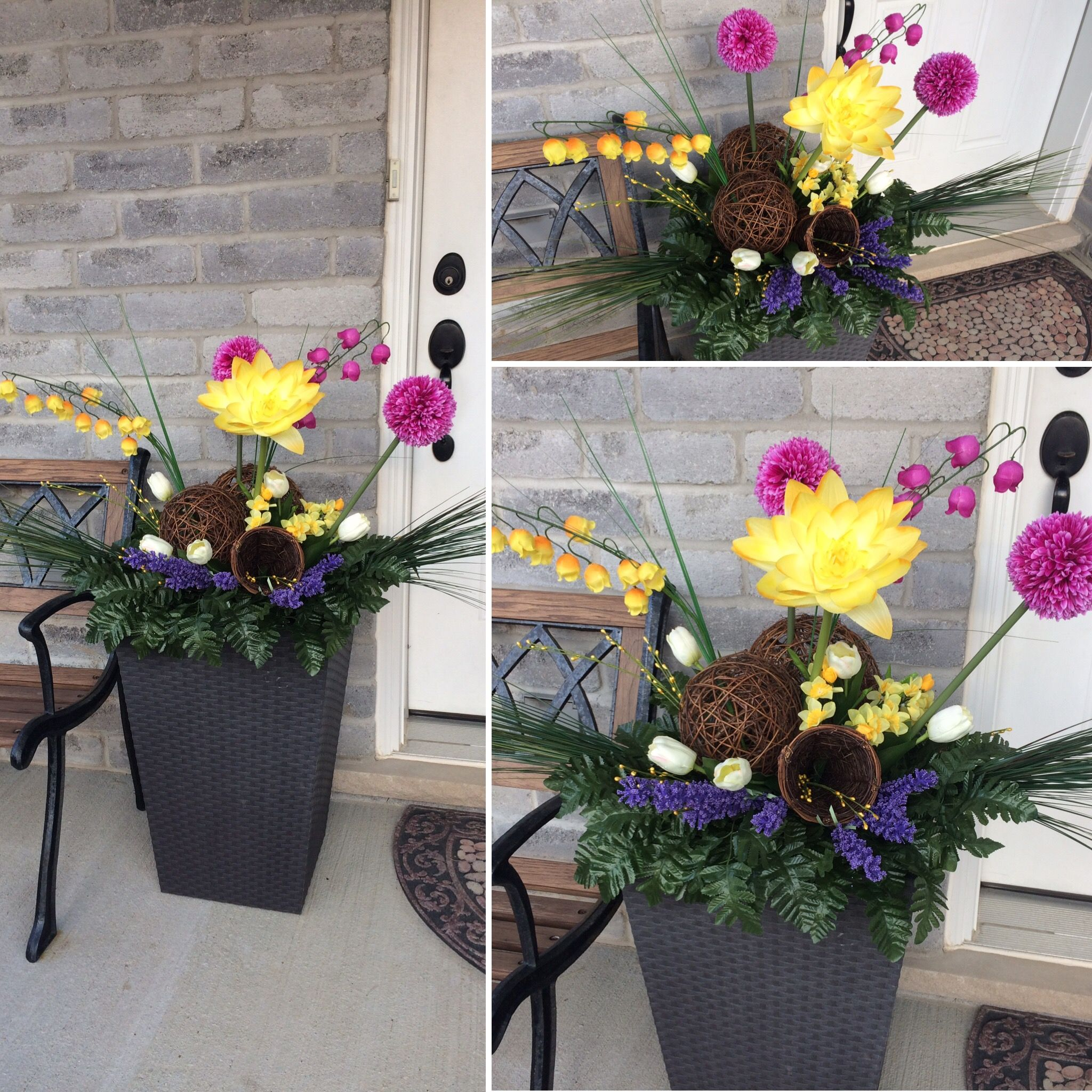 Spring Urn Spring Planter Dollar Store Flowers Diy 400 x 300