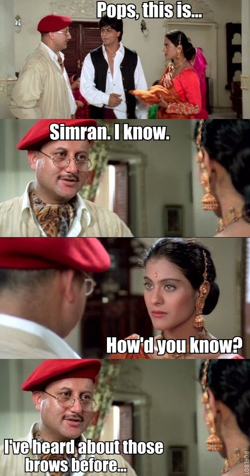 90's Pictorial Film Rewind: Dilwale Dulhania Le Jayenge – ImaanSheikh |  Bollywood memes, Bollywood funny, Crazy funny memes