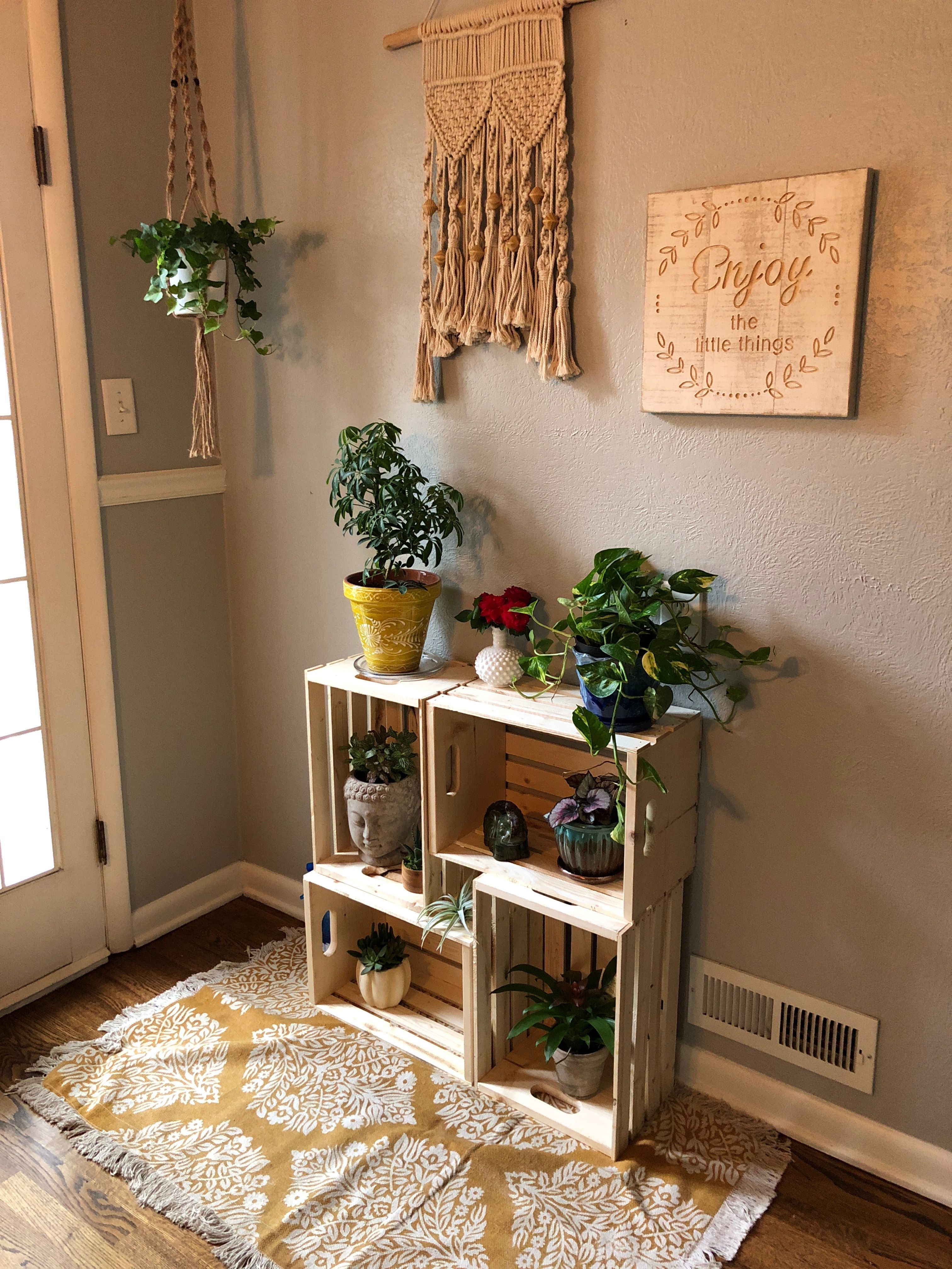 Wooden Crate Plant Stand Crate Decor Pallet Projects