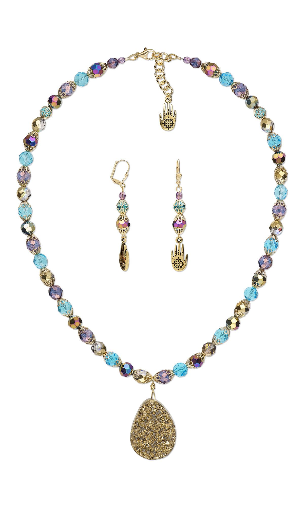 jewelry design single strand necklace and earring set with druzy