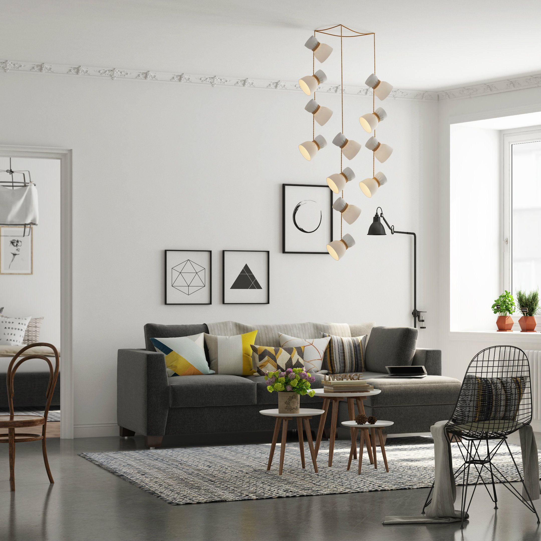 A minimalist living room with quirky lights contemporary lights modern furniture comfortable seating